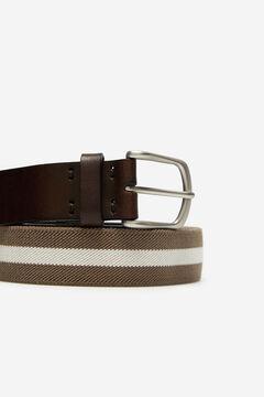 Cortefiel Striped canvas belt Brown