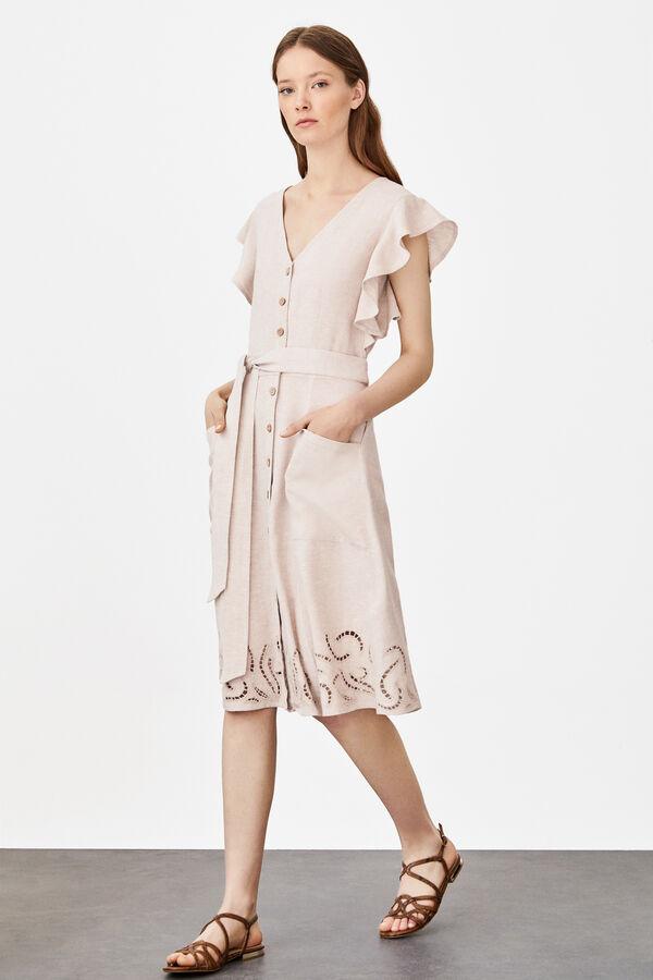 a884d34694 Cortefiel Vestido lino troquelados Blanco