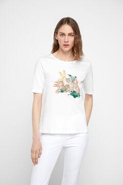 Cortefiel Camiseta algodón orgánico Beige