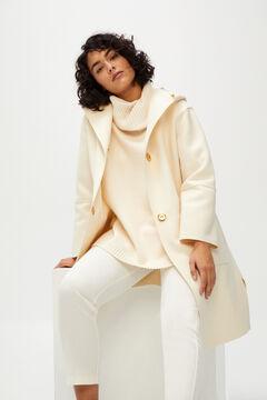 Cortefiel Dual fabric coat Ecru