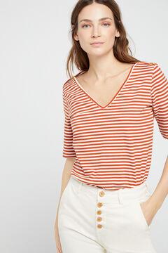 Cortefiel Essential organic cotton V-neck t-shirt Camel