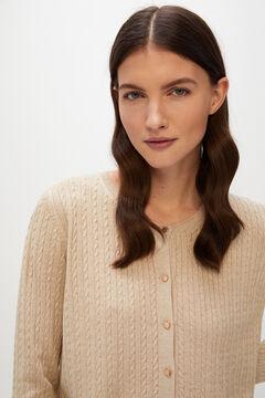 Cortefiel Cross-knit jacket Brown
