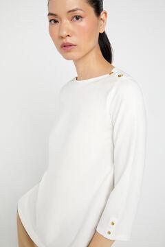 Cortefiel Camiseta escote barco algodón orgánico Blanco