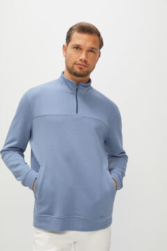 Cortefiel Sweatshirt de gola semicisne Azul