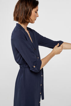 Cortefiel Belted tunic dress Navy