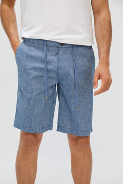 Cortefiel Adjustable linen and cotton chino-style shorts Navy