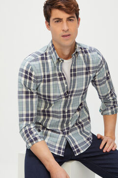 Cortefiel Checked poplin shirt Blue