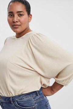 Cortefiel T-shirt folgada Curve Beige