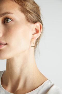 Cortefiel FEMME hoop earrings - Crystal - Gold Beige