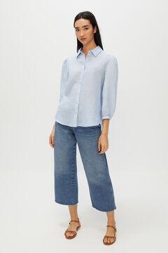 Cortefiel Long-sleeved linen shirt Blue