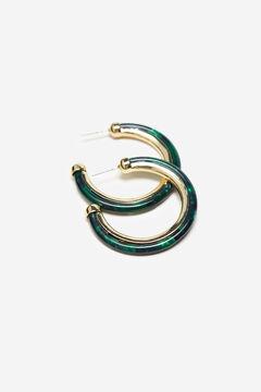 Cortefiel Resin hoop earrings Dark green