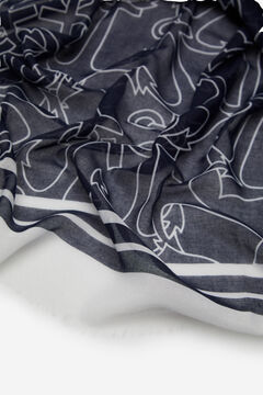 Cortefiel Nautical print fine scarf Navy