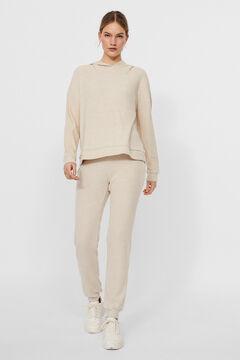 Cortefiel Ribbed sweatshirt Stone