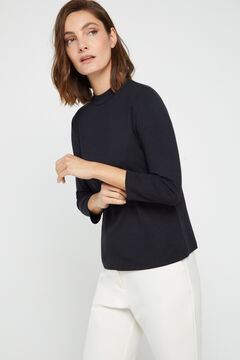 Cortefiel Modal mock turtleneck t-shirt Black