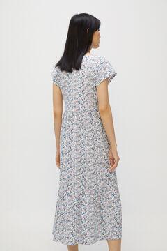 Cortefiel Flounced jersey-knit dress Natural