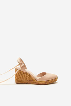 Cortefiel Natural jute wedge with ankle tie Ecru