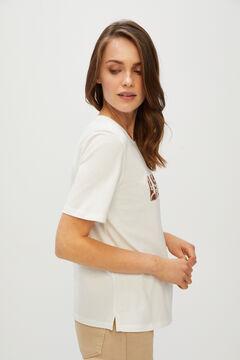 Cortefiel Printed T-shirt Orange