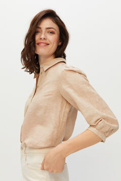 Cortefiel Long-sleeved linen shirt Stone