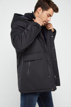 Cortefiel Long hooded technical parka Black
