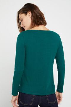 Cortefiel Boat neck t-shirt Dark green