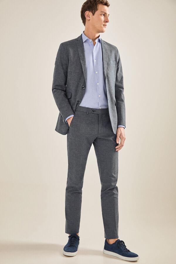 79bd2aa7fb1 Cortefiel Pantalón algodón gris slim fit Azul