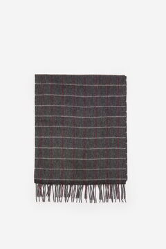 Cortefiel Checked cloth scarf Dark gray