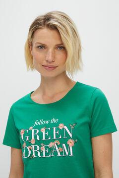 Cortefiel Floral printed t-shirt Green