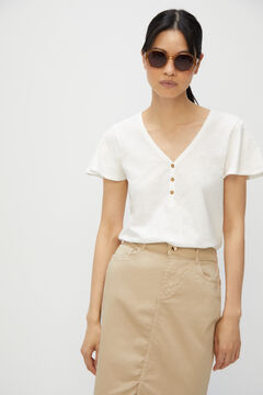 Cortefiel 5-pocket midi skirt Brown