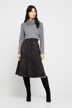 Cortefiel Jersey-knit midi skirt Natural