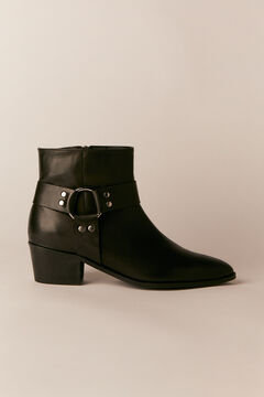 Cortefiel Leather cowboy ankle boot Black