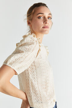 Cortefiel Floral lace top Stone