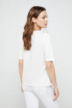 Cortefiel T-shirt básica com decote em bico de algodão orgânico Branco