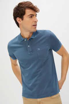 Cortefiel Short-sleeved logo polo shirt Royal blue