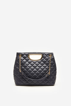 Cortefiel Quilted bag with chain Navy