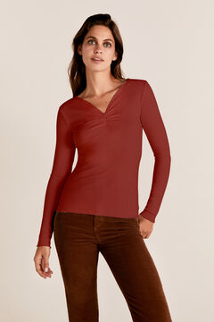 Cortefiel Ribbed gathered t-shirt Red