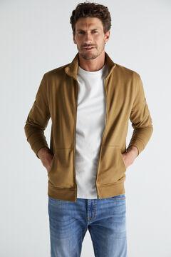 Cortefiel Zipped sweatshirt Vanilla