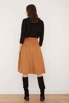 Cortefiel Jersey-knit midi skirt Beige