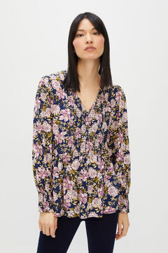 Cortefiel Printed V-neck blouse Blue