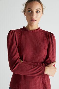 Cortefiel Textured lace top Purpura