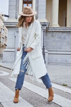 Cortefiel Faux shearling coat with fringes Ecru