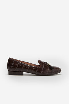 Cortefiel Croc embossed slip-on shoe with bow and tassel Brown