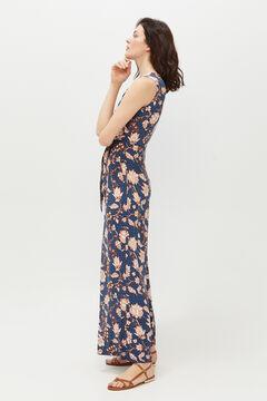 Cortefiel Floral print jersey-knit jumpsuit Blue