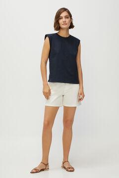 Cortefiel Shoulder pads T-shirt Navy