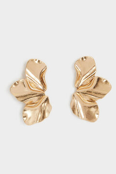 Cortefiel Medium flower earrings Beige