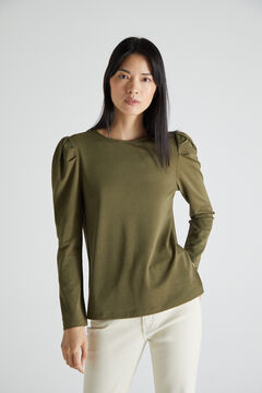 Cortefiel Puffed sleeve piqué T-shirt Dark gray
