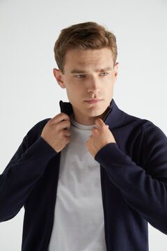 Cortefiel Cotton zipped cardigan with high neck Navy