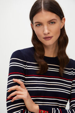 Cortefiel Striped jumper with buttons Navy