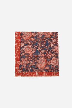 Cortefiel Blue floral print recycled polyester scarf with contrast border Blue