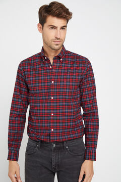 Cortefiel Checked organic cotton Oxford shirt Red garnet