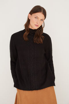 Cortefiel Long cable knit jumper Black
